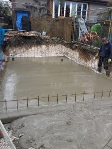 Foundation slab laid