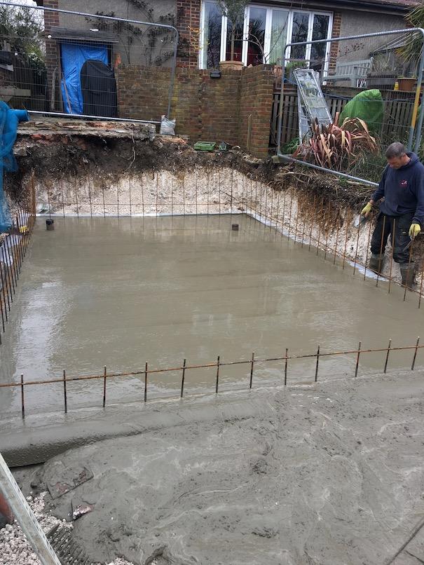 Foundation slab laid